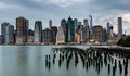 Cloudy Day At Lower Manhattan Skyline View From Brooklyn Bridge Stock Photo - 96685620