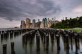 Cloudy Day At Lower Manhattan Skyline View From Brooklyn Bridge Stock Image - 96685781