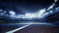 Sport Backgrounds.  Soccer Stadium And Running Track. 3d Render Royalty Free Stock Image - 96689676