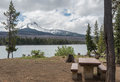 Campground With Mountain And Lake Stock Photo - 96692910