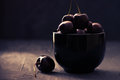 Cherries In Black Bowl Stock Photos - 96693933