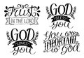 4 Hand Lettering God Bless You. God Loves You. Trust In The Lord. You Are Important To God. Royalty Free Stock Photo - 96695595