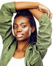 Young Pretty African-american Girl Posing Cheerful Emotional On White Background Isolated, Lifestyle People Concept Stock Photos - 96716103