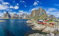 The Typical Norwegian Fishing Village Of Reine With The Typical Stock Photography - 96728652