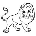 Cartoon Cute Lion Coloring Page Vector Royalty Free Stock Photography - 96733747