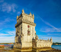 Beautiful Ancient Belem Tower Panoramic View At Sunset, Lisbon Royalty Free Stock Photography - 96775657
