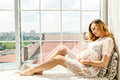 Beautiful Adult Pregnant Woman. Waiting For The Baby. Pregnancy. Care, Tenderness, Motherhood, Childbirth. Royalty Free Stock Photos - 96775928