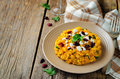 Pumpkin Risotto With Dried Cranberries And Goat Cheese Stock Photography - 96777492