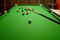 Snooker Balls And Cue On Table Stock Image - 96796091