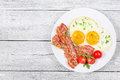 Sunny Side Up Eggs With Bacon Royalty Free Stock Image - 96797356