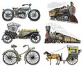 Car, Motorbike, Horse-drawn Carriage, Locomotive. Engraved Hand Drawn In Old Sketch Style, Vintage Passengers Transport. Stock Images - 96805284