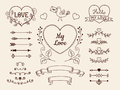 Doodle Elements For Valentine Or Wedding Design. Hand Drawn Arrows, Hearts, Dividers, Ribbon Banners. Vector Set. Royalty Free Stock Image - 96805976