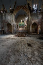 Altar - Broken Stained Glass, Collapsing Building & Graffiti - Abandoned Church Stock Photography - 96806362