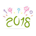 Vector Of New Year 2018 With Colorful Firework  Royalty Free Stock Photos - 96814318