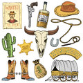 Wild West, Rodeo Show, Cowboy Or Indians With Lasso. Hat And Gun, Cactus With Sheriff Star And Bison, Boot With Royalty Free Stock Photo - 96836225