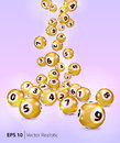 Vector Golden Bingo Balls Fall Randomly. Stock Photo - 96843110