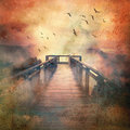 Wooden Walkway To Misty Mountains Royalty Free Stock Photos - 96846088