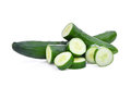 Green Fresh Japanese Cucumber, Suhyo Or Zucchini With Slice Royalty Free Stock Images - 96853269