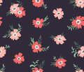 Trendy Vector Seamless Floral Ditsy Pattern. Fabric Design With Simple Flowers On The Dark Background. Stock Image - 96864851