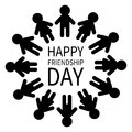 Happy Friendship Day. Man And Woman Pictogram Icon Sign. People Round Circle. Male Female Silhouette. Black Color. Boys Girls Hold Stock Photos - 96865073