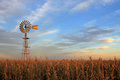 Texas Style Westernmill Windmill At Sunset, Argentina Stock Photo - 96876510
