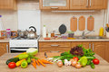 Fresh Fruits And Vegetables On The Table In Kitchen Interior, Healthy Food Concept Stock Image - 96889631