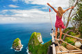 Happy Woman Stand At High Cliff Viewpoint, Look At Sea Royalty Free Stock Image - 96891076