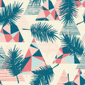 Seamless Exotic Pattern With Tropical Palm Leaves On Geometric Background. Royalty Free Stock Images - 96909369