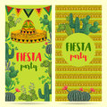Invitation For Fiesta Party With Sombrero, Cacti And Ethnic Ornament. Stock Photography - 96911432