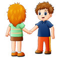 Cartoon Boy And Girl Shaking Hands Royalty Free Stock Image - 96912216