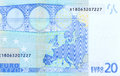 Back Side Of 20 Euro - Macro Fragment Banknote. Stock Photo - 96913350