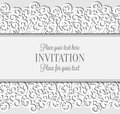 Wedding Card With Paper Lace Frame, Lacy Doily Royalty Free Stock Photo - 96921925