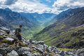 Man Hiking Down Steep Trail In The Talkeetna Mountains, Alaska Royalty Free Stock Images - 96939029