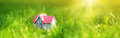 Red Wooden House On The Grass Stock Photo - 96939410