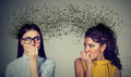 Two Anxious Women Looking At Each Other Exchanging With Many Thoughts Royalty Free Stock Images - 96947829