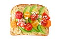 Avocado Toast With Hummus And Tomatoes Isolated On White Stock Photo - 96952620