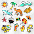 Travel To Egypt Doodle. Egyptian Landmark Stickers, Badges And Patches With Pyramids And Animals Royalty Free Stock Images - 96969139