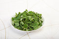 Green Methi Or Fenugreek With Mortar And Pestle Royalty Free Stock Photo - 96972155