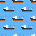 Cargo Vessels And Tankers Shipping Delivery Bulk Seamless Pattern Carrier Train Freight Boat Tankers Background Vector Stock Photos - 96975053