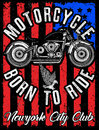 Motorcycle Label T-shirt Design With Illustration Of Custom   Stock Image - 96981551