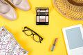 Arrangement Of Essential Woman Summer Accessories On Bright Yellow Background Royalty Free Stock Photos - 96985738