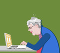 Grandmother With The Computer Sits. Vector Illustration In A Flat Style. Old Progressive Woman Use Modern Technology. Royalty Free Stock Photos - 96988038