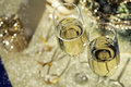 Holiday Setup With Sparkling Wine In Flute Glasses And Christmas Royalty Free Stock Image - 97013736
