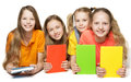 Children Books, Kids Girls Group Holding Book Cover Royalty Free Stock Photo - 97017965