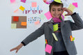 Boy As Business Executive With Sticky Notes On His Body Stock Images - 97033514