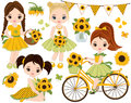 Vector Set With Cute Little Girls, Bicycle With Sunflowers Royalty Free Stock Photos - 97041818