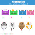 Matching Children Education Game, Kids Activity. Match Animals With Box Royalty Free Stock Images - 97043189