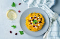 Pumpkin Risotto With Dried Cranberries And Goat Cheese Royalty Free Stock Images - 97047839