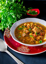 Moroccan Soup Harira With Meat, Chickpeas, Lentil, Tomato And Sp Royalty Free Stock Image - 97053366