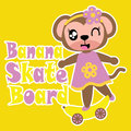 Cute Monkey Girl With Banana Skateboard  Cartoon Illustration For Kid T Shirt Design Royalty Free Stock Photography - 97059517